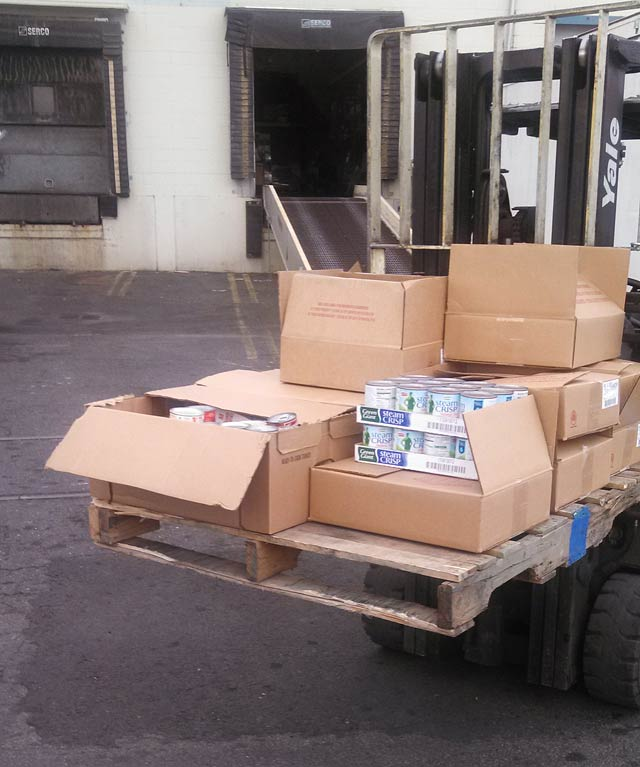 Part of the food collected by Teamsters Local 760 members and staff back in December.