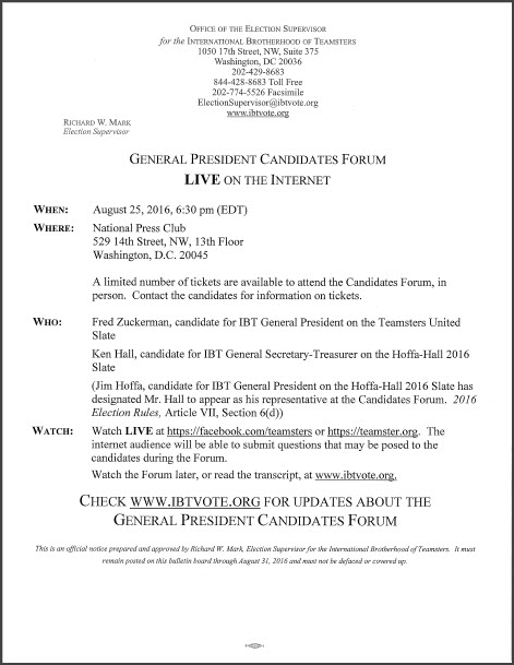 General President Candidates Forum LIVE on the Internet