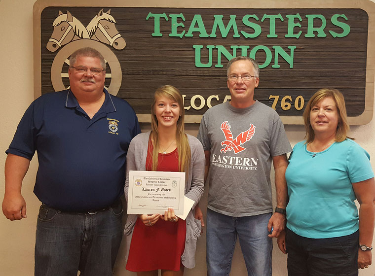 Lauren Estey pictured with her parents and Local 760 Secretary-Treasurer Leonard Crouch.