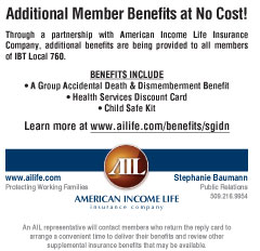 Benefits at no cost through American Incone Life Insurance
